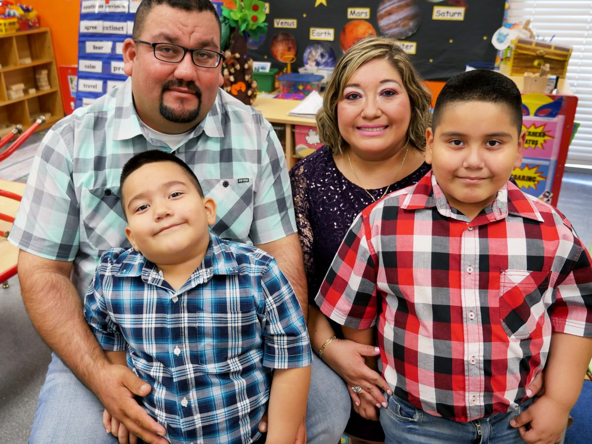 Family with two boys benefits from BakerRipley's early childhood education program.